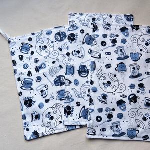Törlőkendő garnitúra - Kék teás csészék  - Újrafelhasználható, környezetbarát, Otthon & Lakás, Konyhafelszerelés, Konyharuha & Törlőkendő, Varrás, Ez a garnitúra 1 db nagyobb és 2 db kisebb törlőkendőt tartalmaz. A törlőkendők két rétegűek, egyik ..., Meska