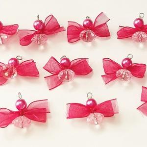 Pink karácsony - karácsonyfadíszek, Karácsonyfadísz, Karácsony & Mikulás, Otthon & Lakás, Gyöngyfűzés, gyöngyhímzés, Ékszerkészítés, Saját tervezés alapján készült 8 és 12X8 mm-es  csiszolt akril és teklagyöngyökből ez a 12 darab, pi..., Meska