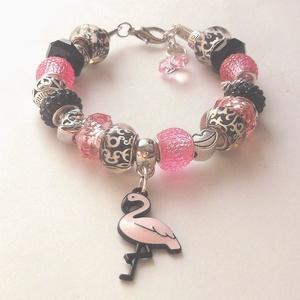Flamingó - karkötő pandora stílusban, Ékszer, Karkötő, Charm karkötő,  Pandora stílusú gyöngyökből  és köztesekből köztesekből készült ez a  karkötő, melyet  fehér, fonot..., Meska