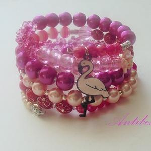 Flamingó - gyöngy karkötő , Ékszer, Karkötő, Memóriadrótos karkötő, Gyöngyfűzés, gyöngyhímzés, Ékszerkészítés, Pink és rózsaszín árnyalataiban, különböző formájú és méretű tekla és üveggyöngyökből és antik ezüst..., Meska