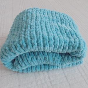 Menta-türkiz puhaság - kötött babatakaró, Játék & Gyerek, 3 éves kor alattiaknak, 62x70 cm-es, szépséges, puha, meleg babatakaró, fotokellék, vagy ajándék is lehet. Puha , Himalaya D..., Meska
