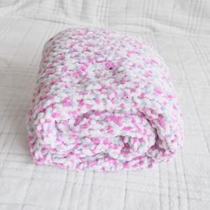 Puha pasztell - babatakaró, Otthon & Lakás, Lakástextil, Takaró, Puha, vastag Himalaya Dolphin Baby babafonalból kötöttem ezt a rózsaszín-halványszürke-fehér mintáza..., Meska