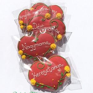 """Rózsás szív bármilyen köszöntő alkalomra ,Anyák napjára,Pedagógusnapra, Édesség, Élelmiszer, Mézeskalácssütés, 5 DARAB!!kb.7,5-8cmX6 cm\npiros festett alapú ,rózsás, színes ,feliratos\n\nEgyszavas felirattal pl.\n\"""" ..., Meska"""