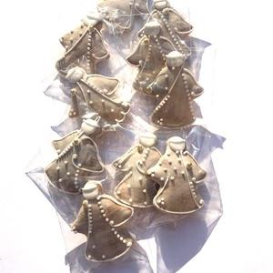 Mini angyalkák,karácsonyra, keresztelőre, ajándék kiegészítőként csomagra stb., Karácsony & Mikulás, Mézeskalácssütés, Tartalma:  10db!!! kis méretű (4cmx3,5)mézeskalács angyalka.\n\nFehér mázzal,különböző egyedi mintával..., Meska