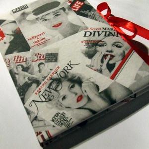 Monroe-Hepburn napló (A4), Otthon & Lakás, Jegyzetfüzet & Napló, Papír írószer, Monroe és Hepburn képekkel nyomott  vászonnal borított bélelt A4-es napló jelző szalaggal és megkötő..., Meska