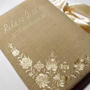 Lenvászon esküvői vendégkönyv (A4) - Meska.hu