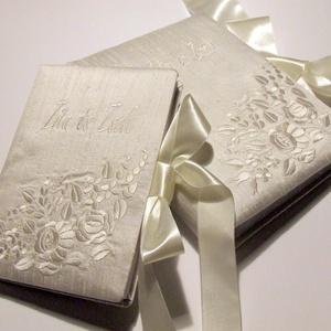 Esküvői szett X., Vendégkönyv, Emlék & Ajándék, Esküvő, Könyvkötés, Hímzés, Megrendelésre!\nA képen látható darab már elkelt, de ha Te is szeretnél ilyet, akkor nyugodtan tedd k..., Meska