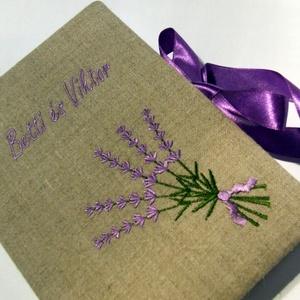 Esküvői lenvászon levendula vendégkönyv, Esküvő, Vendégkönyv, Emlék & Ajándék, A képen látható darab már elkelt, de ha Te is szeretnél ilyet, akkor nyugodtan tedd kosárba, vagy ha..., Meska