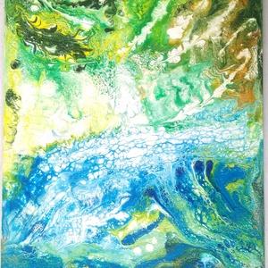 Szett 2, Otthon & lakás, Dekoráció, Kép, Képzőművészet, Napi festmény, kép, Lakberendezés, Falikép, Festészet, Ez a 2 darabból álló szett akril poring technikával készült /újrahasznosított/ farostlemezre. Mivel ..., Meska
