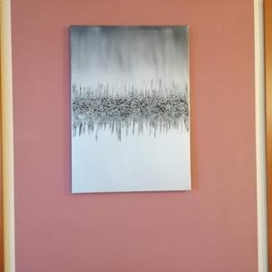Modern kép , Művészet, Festmény, Festmény vegyes technika, Festészet, Design kép modern lakásba. Festővászonra készítettem ezüst alapszínnel, feketével és zúzalékkal dísz..., Meska