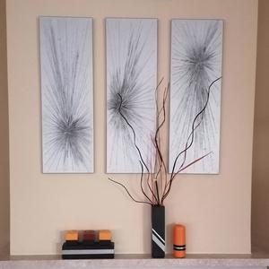 Modern design, Művészet, Festmény, Festmény vegyes technika, Festészet, Festővászonra készült ezüst alapszínnel, 3d-s kiemeléssel kicsit satíroztam feketével. Mérete egy-eg..., Meska