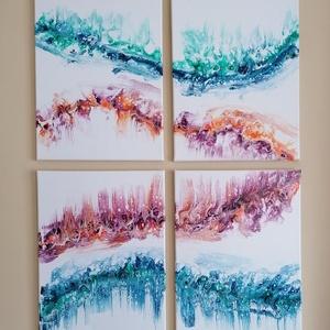 Akril montázs, Művészet, Festmény, Akril, Festészet, Akril pouring technikával 4 db képből álló feszített festővászonra készült montázs. A festéket az ol..., Meska