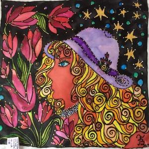 Selyemkép, Otthon & lakás, Képzőművészet, Napi festmény, kép, Vegyes technika, Lakberendezés, Falikép, Selyemfestés, Gyönyörű, egyedi, 100% hernyóselyemre készített színekkel teli festmény. \nMérete kb. 26*28 cm.\nA kép..., Meska