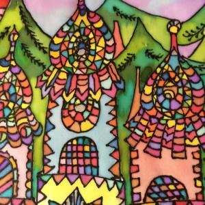 Selyemkép, Otthon & lakás, Dekoráció, Dísz, Képzőművészet, Festmény, Festmény vegyes technika, Lakberendezés, Falikép, Selyemfestés, Gyönyörű, egyedi, 100% hernyóselyemre készített színekkel teli festmény. \nMérete kb. 26*28 cm.\nA kép..., Meska