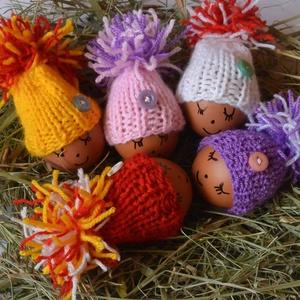 Kötött tojásmelegítő sapka, Otthon & Lakás, Dekoráció, Asztaldísz, Kötés, \nPihe puha akril fonalból kötöttem ezeket a tojásmelegítő sapit.Átlagos tyúktojásra húzva  \npuha és ..., Meska