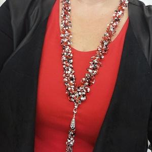 Piros hosszú gyöngyös nyaklánc, Ékszer, Nyaklánc, Gyöngyös nyaklác, Ékszerkészítés, Horgolás, 2-4mm gyöngyöket felfűztem damilra ,és utána felhorgoltam.Ebből lett ez a nagyon mutatós  hosszú nya..., Meska