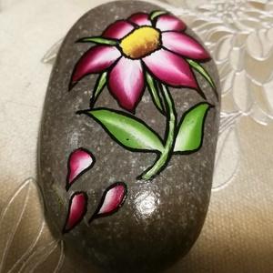 Tengerparti kavicsra festett virág (aPiros) - Meska.hu