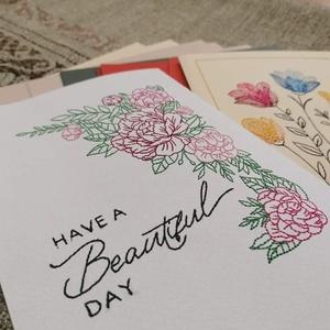 Üdvözlőkártya - Karton papírra hímezve, Otthon & Lakás, Papír írószer, Képeslap & Levélpapír, Készültem pár újdonsággal, méghozzá szép színes kartonpapírra hímzett üdvözlőkártyákkal! Legyen az s..., Meska
