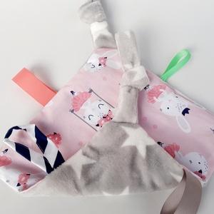 Balerina-alvókendő, játszókendő kisbabáknak!  , Gyerek & játék, Baba-mama kellék, Játék, Készségfejlesztő játék, Minőségi, designer pamutvászonból készített alvókendő, címkékkel. Kérheted minky dot (képen látható)..., Meska
