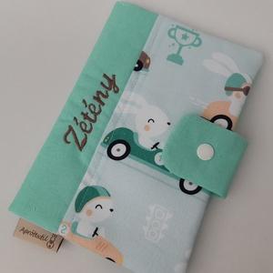 """Egészségügyi kis könyv borító - Száguldó nyuszik, Gyerek & játék, Táska, Divat & Szépség, Baba-mama kellék, Táska, Pénztárca, tok, tárca, """"Egészségügyi kis könyv borító designer textilből, aprótextil stílusban! DUPLÁN BÉLELT kivitel! Az á..., Meska"""
