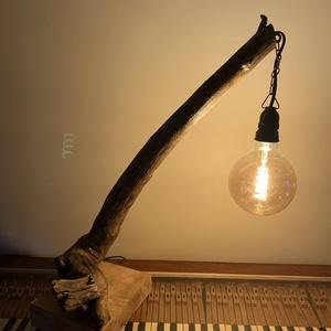 Uszadékfa asztali lámpa, Otthon & Lakás, Lámpa, Asztali lámpa, Famegmunkálás, A fa nemcsak akkor világít, ha ég! Uszadékfából készült asztali lámpa keményfa talpon. Régi bakelit ..., Meska