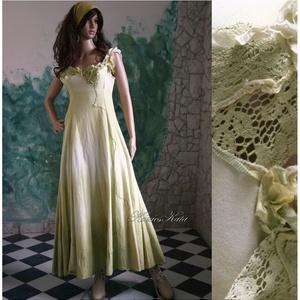 """STELLA - artsy design ruha , Női ruha, Ruha & Divat, Alkalmi ruha & Estélyi ruha, Varrás, Festett tárgyak, Rusztikus kongrés-pamut anyagból készítettem és sávosan, akvarell-technikával festettem ezt az \""""erde..., Meska"""