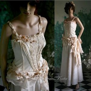 ROZETTA - menyasszonyi vagy estélyiruha, Táska, Divat & Szépség, Esküvői ruha, Ruha, divat, Esküvő, Menyasszonyi ruha, Varrás, Foltberakás, Látványos két részes ruha válogatott pezsgő színű anyagokból.\n\nAz enyhén elasztikus, könnyű kidolgoz..., Meska