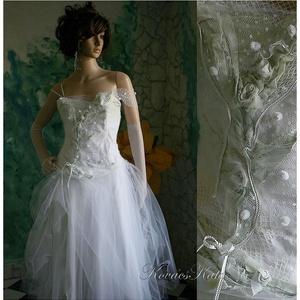 ANNIE  - menyasszonyi ruha , Menyasszonyi ruha, Ruha, Esküvő, Varrás, Festett tárgyak, Egyedi, művészi, pamutvászon alapú, kézzel finoman színezett és aprólékos kézi díszítéssel ellátott ..., Meska