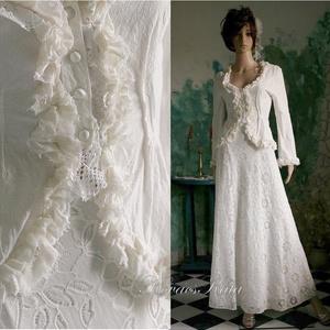 EMILIA - esküvői kosztüm , Esküvő, Táska, Divat & Szépség, Esküvői ruha, Ruha, divat, Menyasszonyi ruha, Női ruha, Kosztüm, Varrás, Akár a nagymamától is örökölhettük volna ezt a természetes anyagokból készült összeállítást.\n\n A fra..., Meska