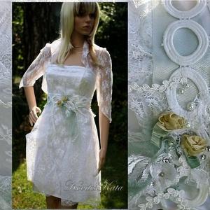 KIM -  menyasszonyi koktélruha, Esküvő, Táska, Divat & Szépség, Esküvői ruha, Ruha, divat, Menyasszonyi ruha, Női ruha, Estélyi ruha, A rövid ruha fiatalos báját ötvöztem a csipkés romantika hangulatával ebben a kétrészes modern  meny..., Meska
