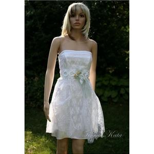 KIM -  menyasszonyi koktélruha csipkeboleróval, Menyasszonyi ruha, Ruha, Esküvő, Varrás, A rövid ruha fiatalos báját ötvöztem a csipkés romantika hangulatával ebben a kétrészes modern  meny..., Meska