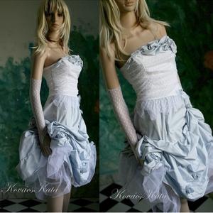 HILDA - design-ruha , Esküvő, Táska, Divat & Szépség, Esküvői ruha, Ruha, divat, Menyasszonyi ruha, Felhősen habosított égszínkék puha taftszoknya tüllel emelve.  Hozzá halcsontos míder apró pöttyös r..., Meska