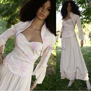 """MILLENIUM III. - esküvői szett, Táska, Divat & Szépség, Esküvő, Menyasszonyi ruha, Esküvői ruha, Ruha, divat, Női ruha, Kosztüm, Varrás, Háromrészes designruha természetes anyagokból:\n\nKedvelt \""""Lenke\"""" szoknyámhoz itt  romantikus nyomott-..., Meska"""
