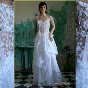 """IDA - menyasszonyi tündérruha, Esküvő, Táska, Divat & Szépség, Esküvői ruha, Ruha, divat, Menyasszonyi ruha, Varrás, Foltberakás, Kétrészes \""""tündér\"""" ruha légies, gyönyörű, aszimmetrikus szabású francia csipke felsőrész és különáll..., Meska"""