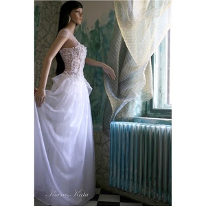 """IDA - menyasszonyi tündérruha, Menyasszonyi ruha, Ruha, Esküvő, Varrás, Foltberakás, Kétrészes \""""tündér\"""" ruha légies, gyönyörű, aszimmetrikus szabású francia csipke felsőrész és különáll..., Meska"""