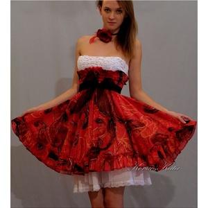 KIRA - design dolly-ruha , menyecske ruha, Menyecske ruha, Ruha, Esküvő, Varrás, Az ár a teljes összeállítást tartalmazza.\n- Körgloknis, fodros, gumis magas derekú Lolita-szoknya kü..., Meska