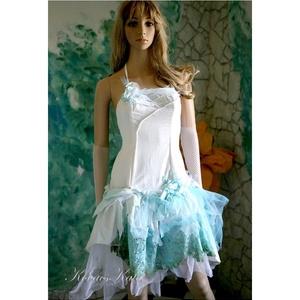 MIRELLE - tündérruha , Táska, Divat & Szépség, Esküvő, Menyasszonyi ruha, Esküvői ruha, Ruha, divat, Különleges fantázia-ruha matt taftselyemből türkiz színre festett tüllökkel és klöpli-csipkével dúsí..., Meska