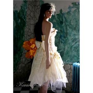 """MIMI - menyasszonyi ruha, Esküvő, Menyasszonyi ruha, Ruha, Franciás, vajszínű térd alá érő """"királylányos"""" ruha aszimmetrikus díszítéssel.  A pliszírozott tafts..., Meska"""