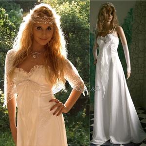 ANGELINA - romantikus menyasszonyi ruha, Esküvő, Menyasszonyi ruha, Ruha, A vonalú mell alatt vágott ruha viszkóz-szaténból.  A mellet fedő fehér organza: ráncolt- fodros- ma..., Meska