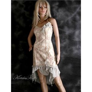 IRINA - koktélruha, Alkalmi ruha & Estélyi ruha, Női ruha, Ruha & Divat, Varrás, Enyhén elasztikus, nyomott mintás pamutvászonból készült muszlin-fodros romantikus koktélruha.\n\nMére..., Meska