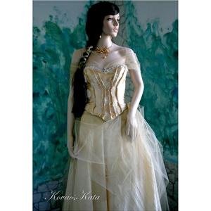 ALOISE - nagyestélyi ruha, menyasszonyi ruha, Táska, Divat & Szépség, Esküvő, Esküvői ruha, Ruha, divat, Menyasszonyi ruha, Kétrészes látványos ruha: A nagy körgloknis aranyszínű taftból készült szoknyát óarany fátyoltüllel ..., Meska