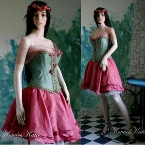 BERTA - exkluzív design-ruha,menyecske ruha , Női ruha, Ruha & Divat, Alkalmi ruha & Estélyi ruha, Varrás, Festett tárgyak,  Hernyóselyem-organzából kézzel festettem ezt az igényesen kidolgozott  különleges, kétrészes báli r..., Meska