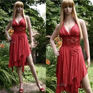 CHERRY - selyemruha, menyecske ruha, Menyecske ruha, Ruha, Esküvő, Festett tárgyak, Varrás, Cherry-színű kézzel festett, gyűrt viszkózselyemből készült nőcis ruha.\nA derékrész elasztikus csipk..., Meska