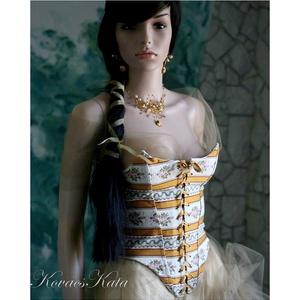 PANDORA -  brokátfűző, Táska, Divat & Szépség, Esküvő, Női ruha, Ruha, divat, Esküvői ruha, XVIII. századi fűző általam modernizált változata.  Bútorvászonból készült, elöl-hátul fűzős, erősen..., Meska
