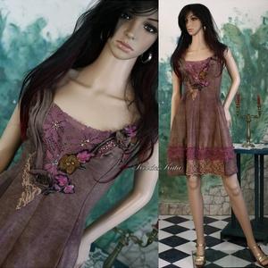 DINA - artsy hernyóselyem shantung koktélruha , Női ruha, Ruha & Divat, Alkalmi ruha & Estélyi ruha, Festett tárgyak, Varrás, Kézzel festett selyem-shantungból terveztem ezt a csinos, romantikus kakaó-barna ruhácskát.\nCsipkékk..., Meska