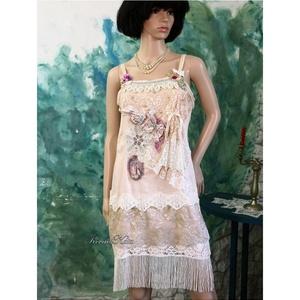 TONCSI - art to wear koktélruha , Alkalmi ruha & Estélyi ruha, Női ruha, Ruha & Divat, Festett tárgyak, Varrás, A művészi öltözködés kedvelőinek készült kreációm:\nA \'20-as évek szabás-vonala sok kézműves részlett..., Meska