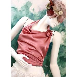 MARILYN selyemtop, Ruha & Divat, Női ruha, Alkalmi ruha & Estélyi ruha, Puha fehérnemű-szaténból terveztem ezt a szexi rövid felsőt. Sötét antik-rózsa színű alkalmi, nyakba..., Meska
