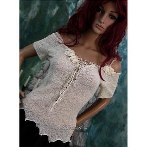 NIMFA - bohém csipkefelső L, Táska, Divat & Szépség, Női ruha, Ruha, divat, Blúz, Póló, felsőrész, Luxus-minőségű kötött csipkéből terveztem ezt a szexisen-romantikus darabot.  Alja-vonalát cakkosra ..., Meska
