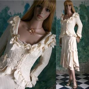 SZIRMOSKA - esküvői kosztüm, Esküvő, Táska, Divat & Szépség, Esküvői ruha, Ruha, divat, Menyasszonyi ruha, Női ruha, Kosztüm, Varrás, Különleges két rétegű olasz designer anyagból készült aszimmetrikus, mély kivágású fodrocskákkal, sz..., Meska