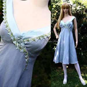 """VEROCSKA - selyemruha, Esküvő, Táska, Divat & Szépség, Női ruha, Ruha, divat, Ruha, Égszínkékre festett jacquard selyemből készítettem ezt a """"tündéres"""" kis-ruhát.  Mell alatt szabott, ..., Meska"""